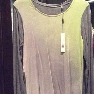 Tahari Tops - Tahari green and gray tie dye top, long sleeve, M